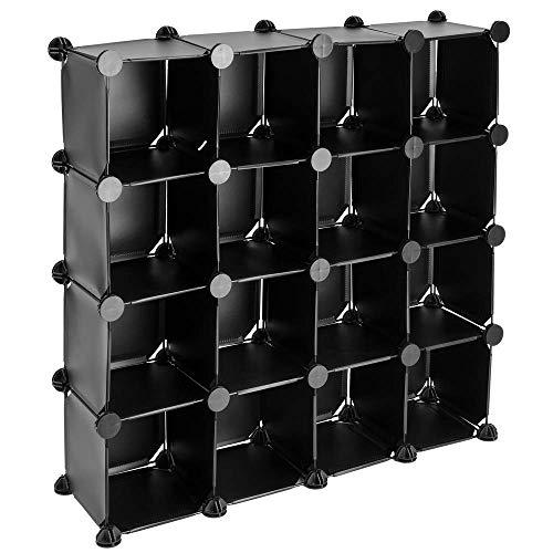 PrimeMatik - Armario Organizador Modular Estanterías de 16 Cubos de 17x17cm plástico Negro