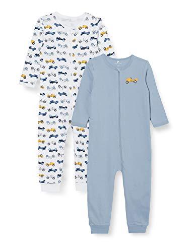 NAME IT Jungen Nbmnightsuit 2p Zip Dusty Blue Noos Baby-und Kleinkind-Schlafanzüge, 92 (2er Pack)
