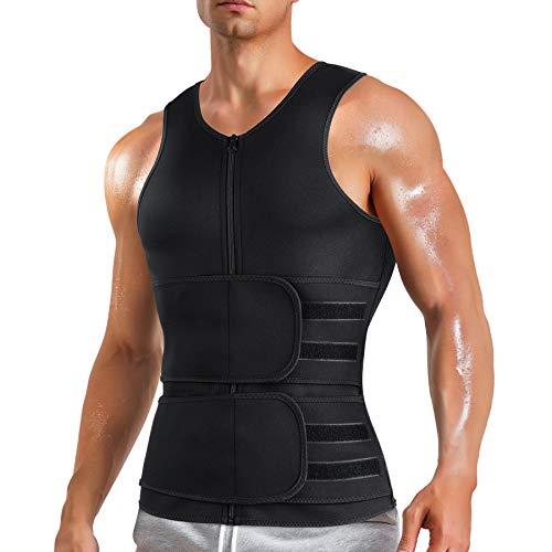 MOLUTAN Men Hot Sweat Vest Neoprene Sauna Suit Waist Trainer Zipper Body Shaper with Adjustable Workout Tank Top Black Medium