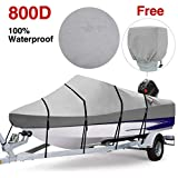 RVMasking Waterproof 800D Polyester Trailerable Full Size Boat Cover Gray for 17'-19' V-Hull Runabouts Outboards and I/O Bass Boats, Free Motor Cover Include (17-19 ft)