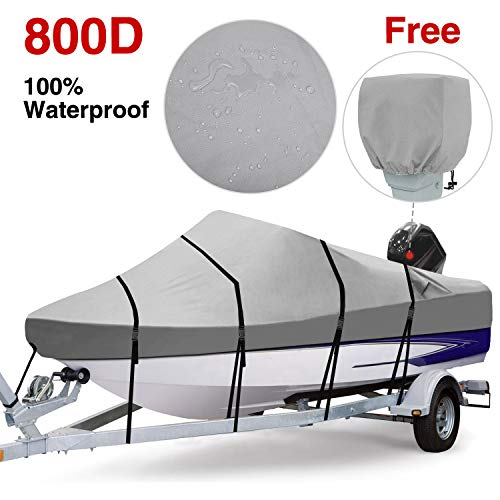 Review Of RVMasking Waterproof 800D Polyester Trailerable Full Size Boat Cover Gray for 17-19 V-Hu...