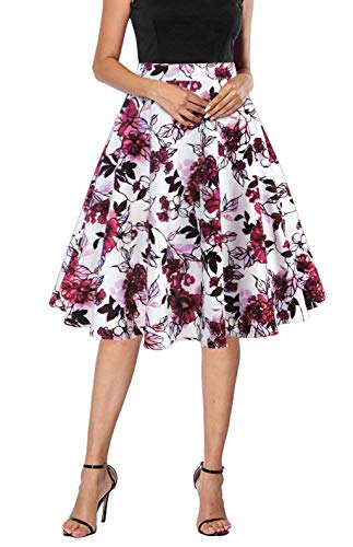 Tailloday Damen 50er Jahre Art Rock Vintage Floral Rockabilly Swing Tellerrock L - 3