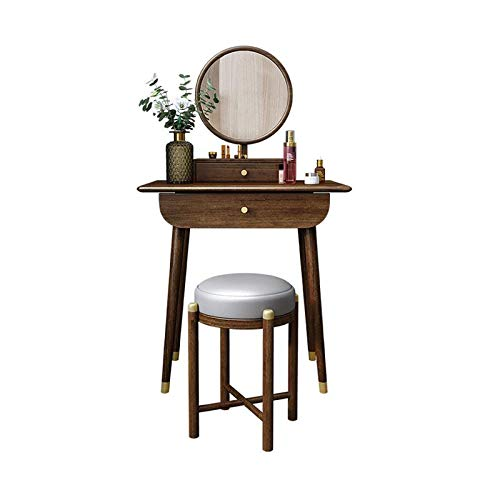 H-ei Luce Lusso di Legno Solido Vanity Table Set Mobili Camera da Letto, Toilette Governo di immagazzinaggio, Noce, con Il Trucco Specchio e Trucco Sgabello