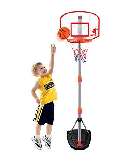 LNLJ Aro de baloncesto para niños con dispositivo de puntuación, soporte de baloncesto de altura ajustable, juguete portátil para niños para interiores y exteriores, regalos de cumpleaños