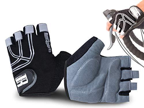 RIMSports Bicycle Gloves for Men & Women, Reflective Bike Gloves for Day & Night Riding, Ideal Biking Gloves & Road Bike Gloves with Gel Padding, Microfiber Thumb Towel & Fingerless Design