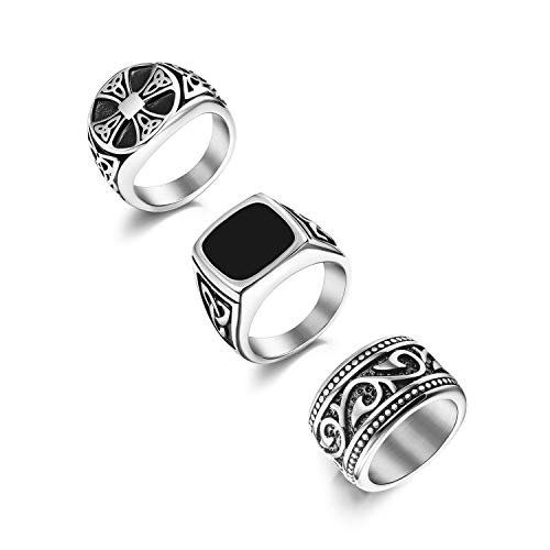 Florideco 3Pcs Stainless Steel Biker Rings for Men Vintage Signet Ring Band Set with Celtic Knot Size 9