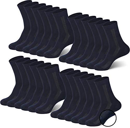 MC.TAM Calcetines Deportivos Tenis Unisex Hombres Mujer Niños Niñas 12 Pares 80% Algodón (Oeko-Tex Standard 100) Suela de Felpa, 35-38, 12 Pares de Azul Oscuro