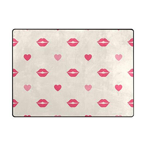 DEZIRO Tapis de Sol antidérapant, Motif lèvres et cœurs Rouges, Polyester, 1, 80 x 58 inch