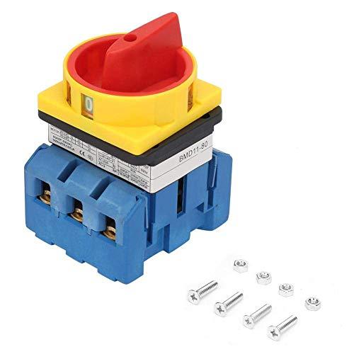 FYYONG 80A Disyuntores, la carga del circuito del interruptor del interruptor, 3 polos 2 posiciones Rotary leva de corte de alimentación del interruptor, evitar el riesgo de choque eléctrico, con Torn