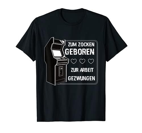 Zocken Geboren Arbeit Gezwungen Gamer PS5 Konsole Zocker T-Shirt