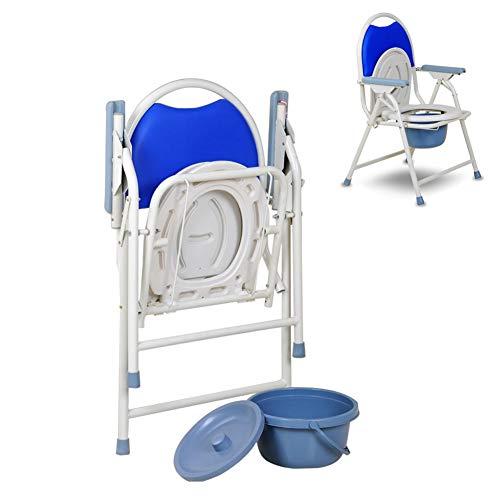 XTZ-YGBG Das Multifunktionsfalten Nacht WC, Badezimmer Toilettenstuhl, griffige Fuss-Auflage mit Griff/Rückenlehne, Schwangere Frauen, Behinderte