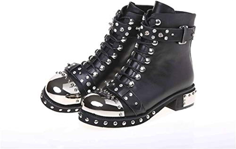 Fumak Fashion Punk Gothic Style Lace Up Belts Rivet Round Toe Boots Women shoes Short Boots Haulage Motor women shoes