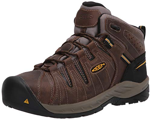 KEEN Utility Men's Flint Ii Mid Steel Toe Non Slip Work Boot Construction Shoe, Cascade Brown/Golden Rod, 11 M US