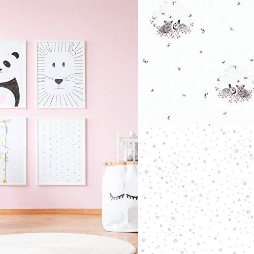#Milieuvriendelijk vliesbehang PVC-vrij kinderbehang haas punten kat kinderkamer wandschilderij behang babykamer fotobehang Made in Germany 10.05 m x 0.53 m Behang roze