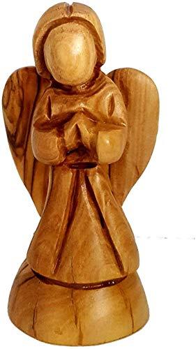 CleanPrince Schutzengel ca. 10-11 cm Engel Weihnachtsengel Holzfigur aus Olivenholz, handgefertigt in Israel, Engel aus Holz Krippenfigur Figur für Krippe Weihnachtskrippe natur braun CPH100676