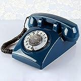 SXRDZ Téléphone Antique Bleu foncé européen rétro Rural Europe et Les États-Unis Village Salon Chambre à Coucher Avis de téléphone à la Maison.