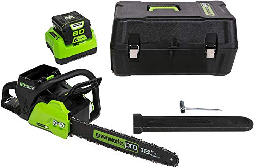 Greenworks 18-Inch 80V Cordless Chainsaw with Hardcase/Extra Bar and Chain Oil, CS80L210
