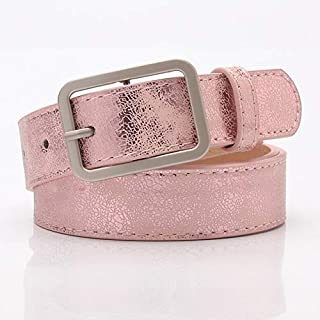 Luxury and Exquisite 105x2.8cm New Ladies Gold Shiny Black Wide Waist Belt for Women Jeans Fashion Silver Pin Buckle Belt Female Cinturon Mujer A101 (Belt Length : 105x2.8cm, Color : Pink)