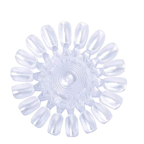 Demino 10pcs Nail Art Display Card Faux Carte d'affichage Nail Art Ongles Conseils d'affichage Pratique Forme de Fleur Palette manucure Accessoires, Transparent Transparent