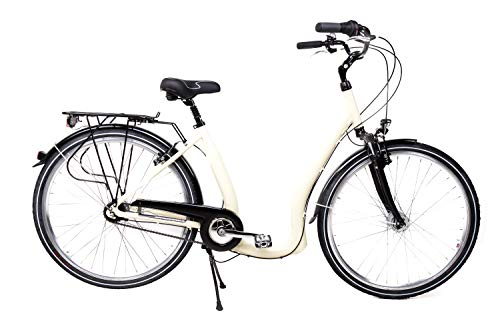 28 Alu Damen City Bike Easy Boarding Tiefeinsteiger Shimano 7 Gang Rücktritt beige B-Ware