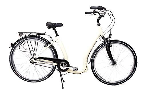 28 Alu Damen City Bike Easy Boarding Tiefeinsteiger Shimano 7 Gang Rücktritt beige B-Ware