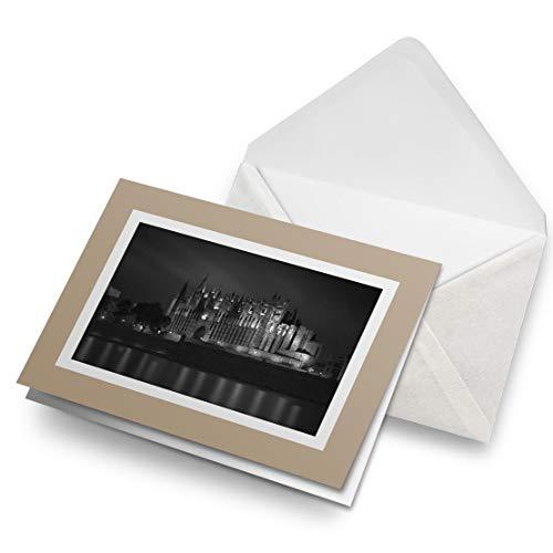 Impresionantes tarjetas de felicitación de Biege (inserto) BW – Catedral Palma de Mallorca tarjeta de felicitación en blanco para cumpleaños de niños y niñas #38984