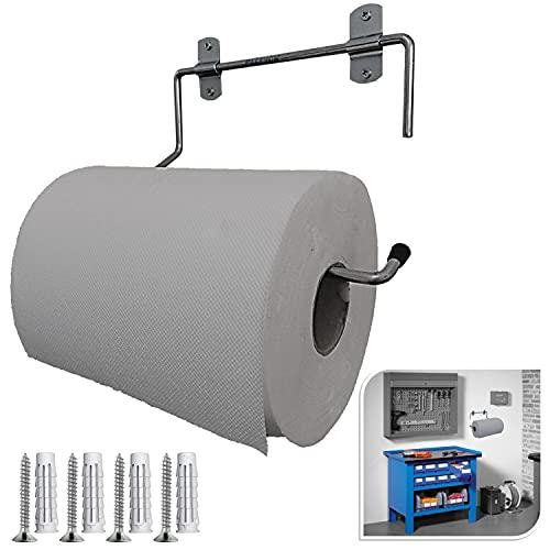Parpyon® Portarotolo industriale a muro parete porta asciugamani bagno per rotoloni asciugatutto Ideale in cucina, garage, palestra, per bobina carta asciugamani monouso (mod.3022)