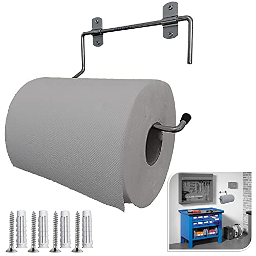 Parpyon® Portarrollos industrial de pared, toallero de baño para rollos de secado, ideal para cocina, garaje, gimnasio, para bobina de papel desechable (mod.3022)