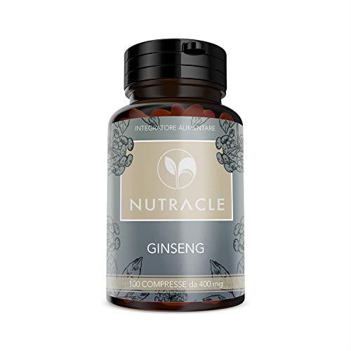 NUTRACLE GINSENG 100 compresse da 400 mg - Energizzante contro stress, fatica e cali di concentrazione | Alta concentrazione di ginsenosidi e saponine