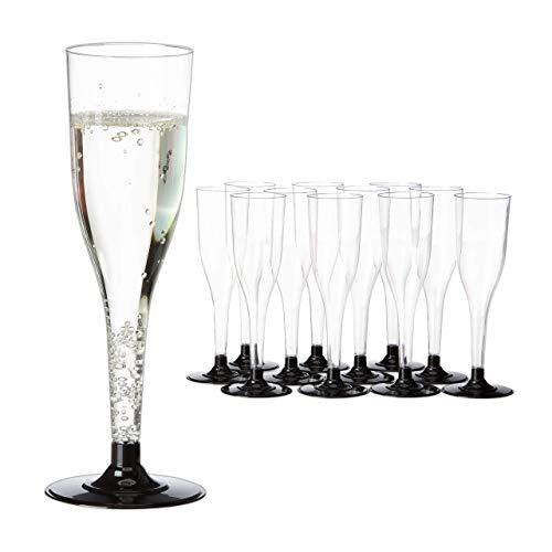 Relaxdays Set de 12 copas de champán, Apilables, Desechables, 0,1 L, Nochevieja,...