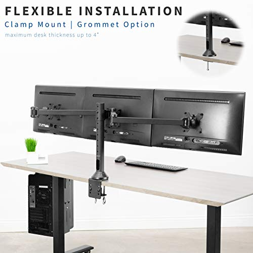 VIVO Black Triple LED LCD Computer Monitor Desk Mount VESA Stand, Heavy Duty Fully Adjustable Tilt, Swivel, and Rotation | fits 3 Screens up to 32 inches (STAND-V103)