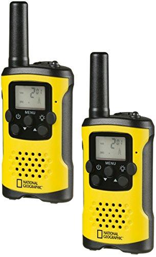 National Geographic PMR-Walkie Talkie Funkgerät mit bis zu 6 KM Reichweite, LCD-Display, Taschenlampe, VOX Funktion, 8 Kanäle, 10 Klingeltöne, Kopfhöreranschluss, lizenzfrei