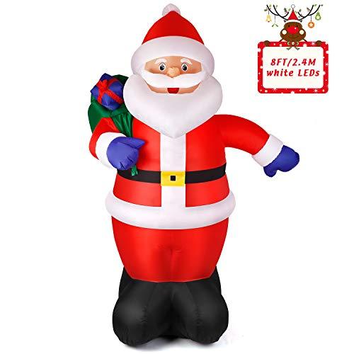 Albrillo Aufblasbarer Weihnachtsmann 240 cm - beleuchtet Nikolaus für Innen & Außen, Outdoor Weihnachtsdekoration inkl. Befestigungsmaterial, LED Beleuchtung, Wasserdicht IP44