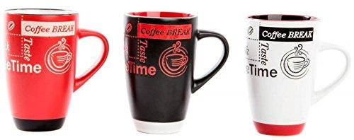 AVENUELAFAYETTE Lot de 3 - Mug Tasse 420 ML Moderne Design Coffee Break
