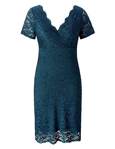 Chicwe Women's Plus Size Stretch Scalloped Lace Bodycon Dress - Party Wedding Cocktail Dress Teal Abyss 2X