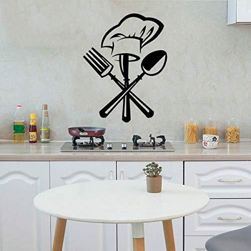 Calcomanías de pared creativas vajilla cuchillo y tenedor gorro de chef vinilo pegatinas de pared para restaurante cocina decoración arte mural