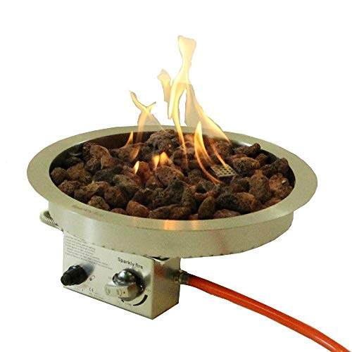 Sparkly Fire Einbaubrenner, DIY Brenneinsatz, Brennereinsatz, Brennkammer, Gas Tischkamin Edelstahl rund Ø40 cm
