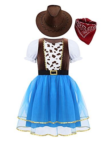 IEFIEL Disfraz de Vaquera Nia Vestido de Cowgirl+Sombrero de Cowboy+Bufanda Disfraz de Navidad Halloween Carnaval Nia 4-10 aos Multicolor 6 aos