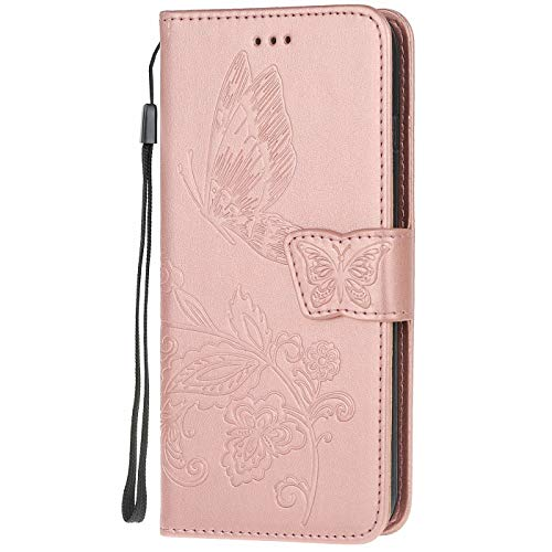 Hancda - Funda de piel con tapa para Xiaomi Redmi Note 8 Pro, rose gold