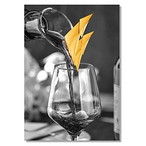 Canvas Wall Art Moderne Zwarte Wijnglas met Boot Kunst Canvas Schilderij Foto's Posters Galerij Eetkamer Huisdecoratie - 60x90cm Geen Frame