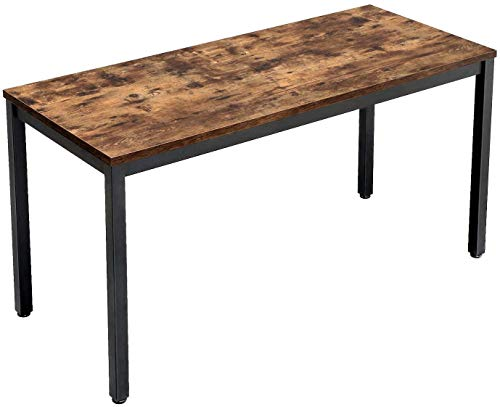 VASAGLE Industrial Computer Writing Desk, 55 Inch Office Study Desk for Laptops, Table for Office Study Living Room, Sturdy Metal Frame, Easy to Assemble, Rustic Brown
