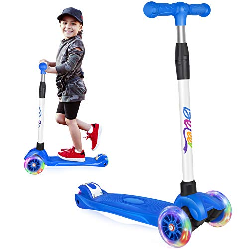 Beleev Kick Scooter for Kids 3 Wheel Scooter for Toddlers Girls & Boys, 4 Adjustable Height, Lean to Steer with Light Up Wheels for Children from 3 to 14 Years Old (Blue)