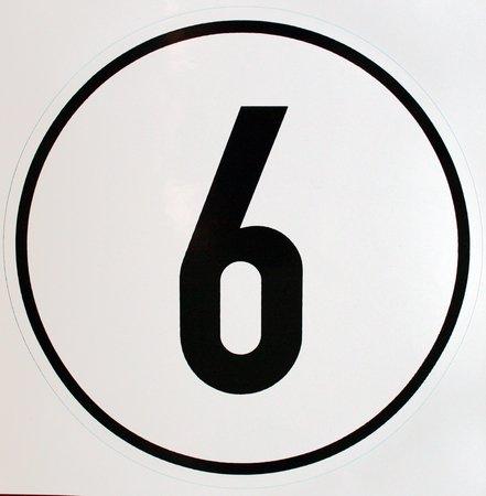 Geschwindigkeitsschild 6 km/h, Hinweisschild für Kraftfahrzeuge (zulässige Höchstgeschwindigkeit), ALU geprägt, Ø 200 mm, zur Anbringung an das Fahrzeug 6 km/h