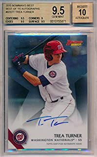 TREA TURNER 2015 Bowman's Best of '15 Autograph Rookie RC Auto BGS 9.5 with 10 AUTO Washington Nationals Baseball Card