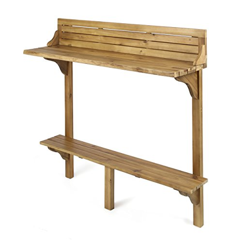 Christopher Knight Home Caribbean Outdoor Acacia Wood Balcony Bar Table, Natural Stained