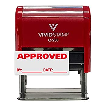 Approved w/by Date Line Self-Inking Office Rubber Stamp  Red  - Medium