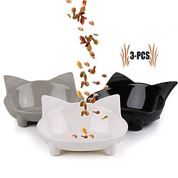 Gamelle Chat, 3 Pièce Bol Chat Bol de Chat en Peu Profonde Bouche Plat Bol pour Chat Antidérapant Gamelle Bowl d'eau pour Chats Chaton