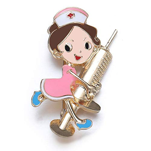 Broche de solapa con forma de enfermera de esmalte lindo con forma de enfermera de color dorado