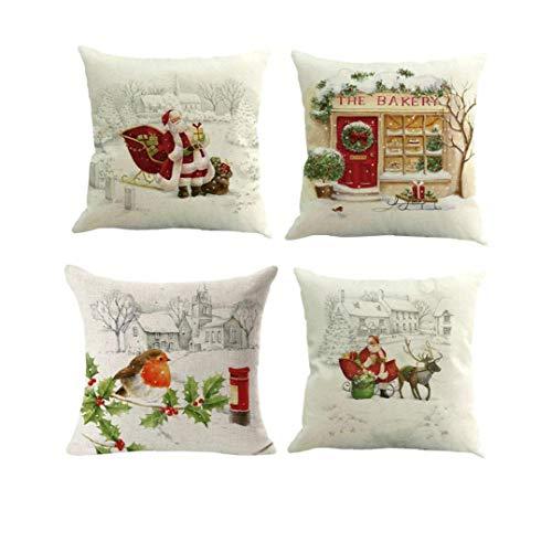Nicedier Funda de Almohada de Navidad Decorativo Suave Relleno de la Plaza de protección Throw Almohada del Amortiguador de Asiento del sofá-45 * 45cm 4pcs