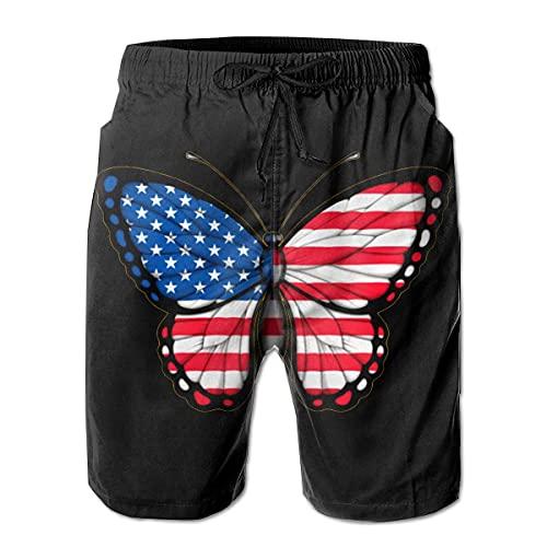 GOSMAO Bañadores para Hombre Troncos de natación Masculinos de la Mariposa de la Bandera Americana Pantalones de Playa Impermeables de Secado rápido Pantalones Cortos de la Tabla de la Playa